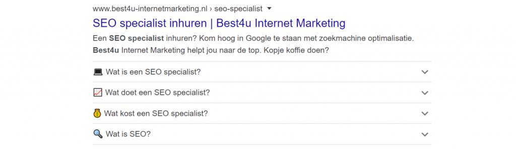 Rich snippet voor zoekresultaat seo specialist Best4u