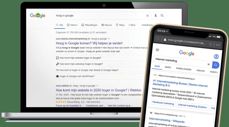 hoog in Google zoekresultaten